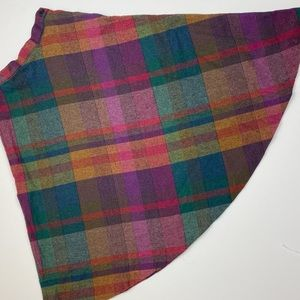 Vintage Rainbow High Waist A-Line Wool Plaid Skirt